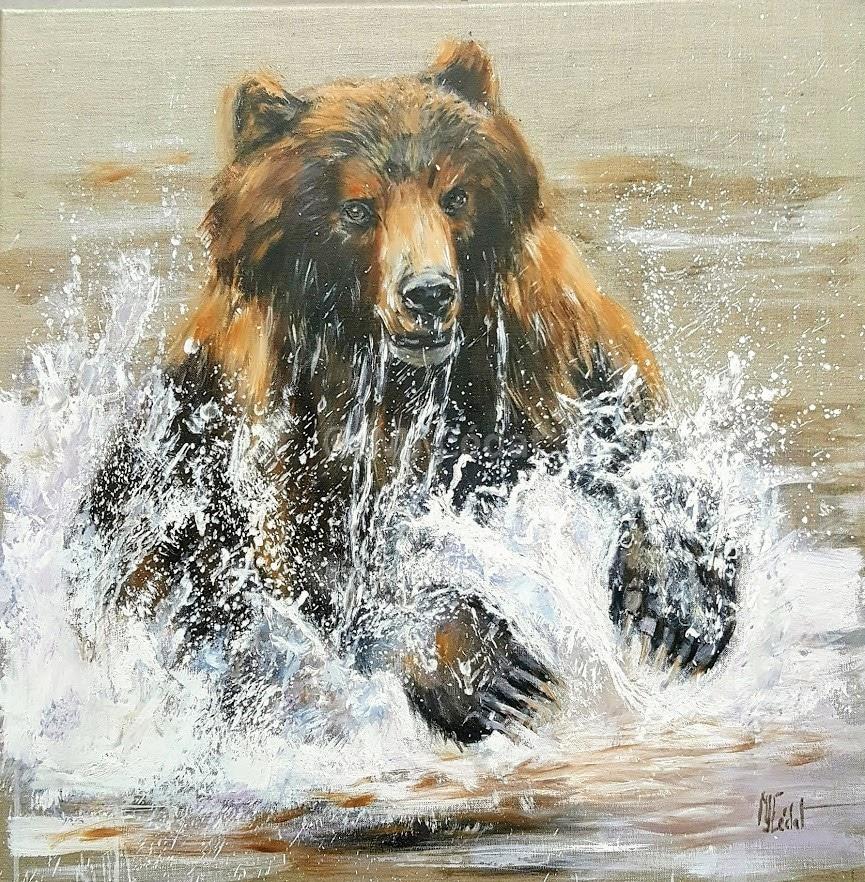 Le Grizzly manque son saumon – Acrylique sur toile de lin brut 70 x 70 cm