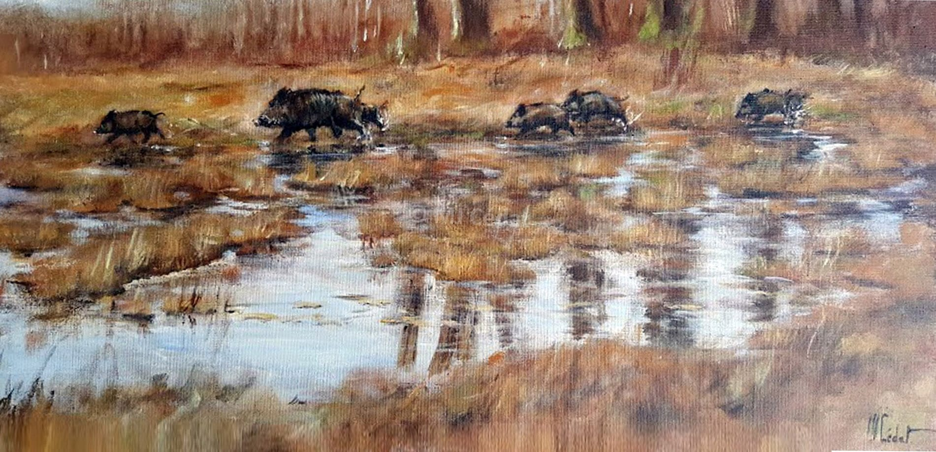 sangliers-Marie-Joëlle Cédat-artiste animalier peinture animaliere-art-animalier- peintre-animalier