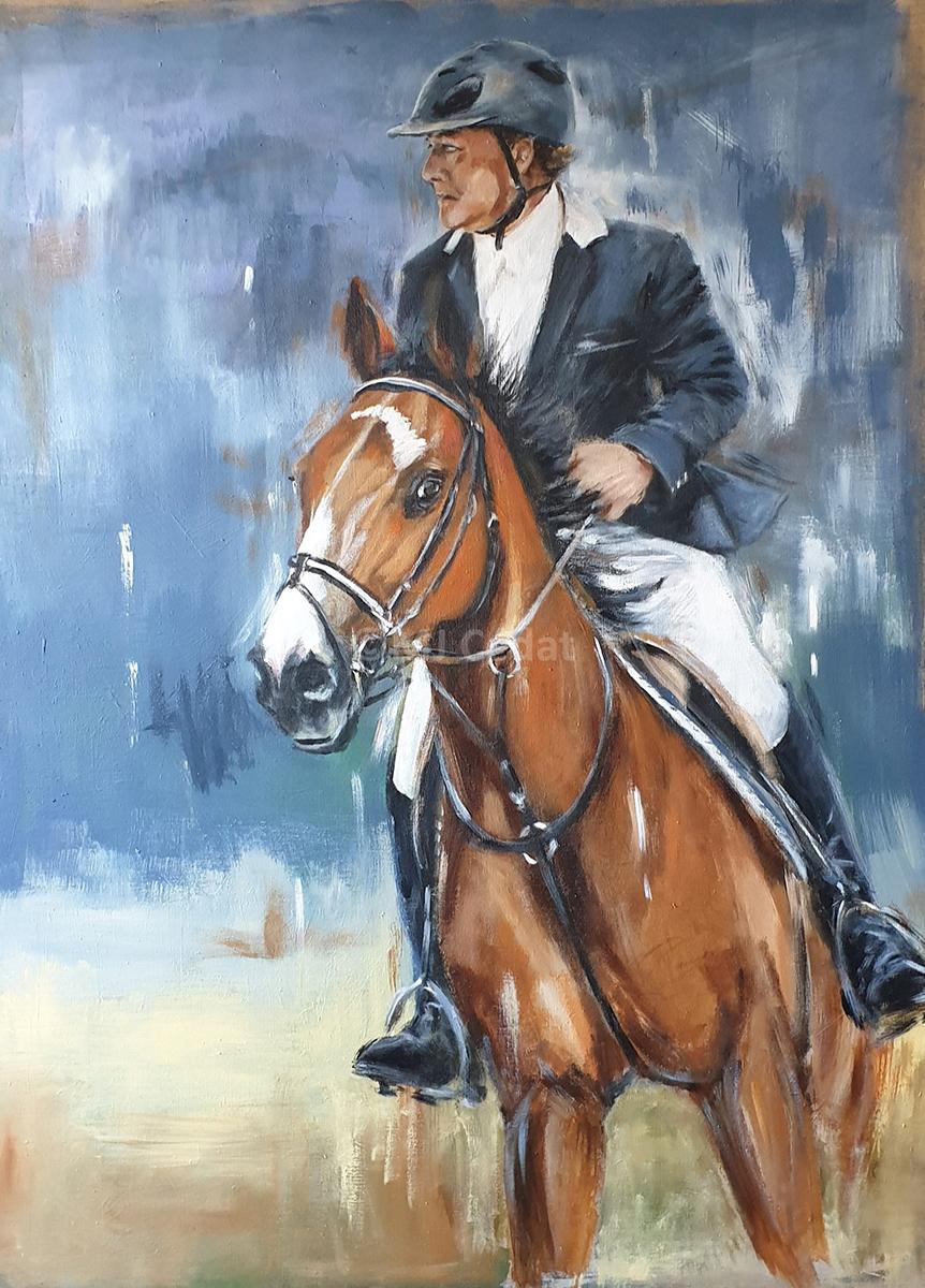 Cavalier – -Marie-Joëlle Cédat-artiste animalier peinture animaliere-art-animalier- peintre-animalier