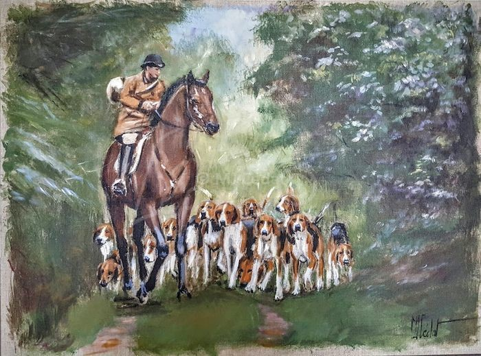 Vénerie – Acrylique sur toile de lin brut-Marie-Joëlle Cédat-artiste animalier peinture animaliere-art-animalier- peintre-animalier