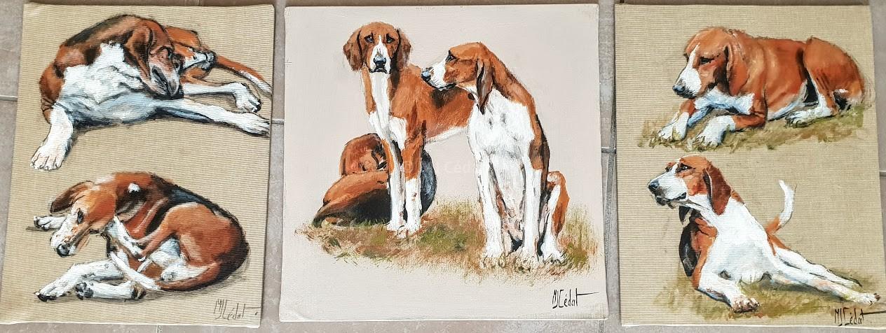 Chiens 3 tableaux– Acrylique sur toile de lin brut 30 x 30 cm
