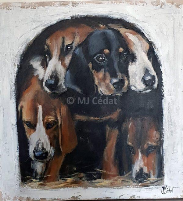 chiots a la niche – Acrylique sur toile de lin brut 80 x 80 cm