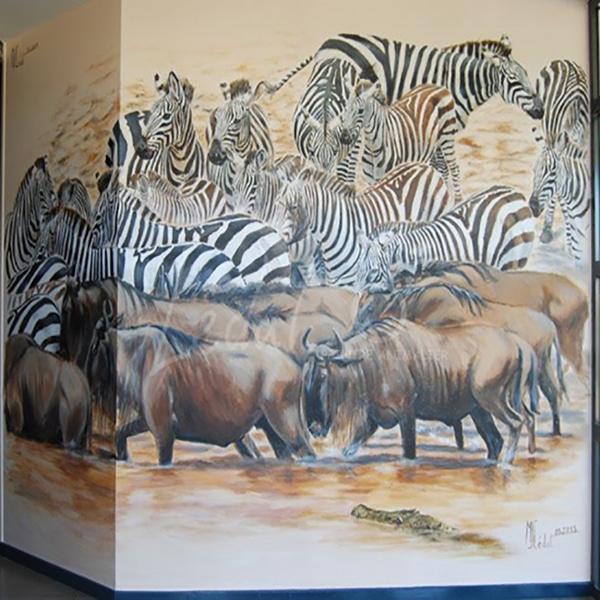 zèbres- buffles- Marie-Joëlle Cédat-artiste animalier peinture animaliere-art-animalier- peintre-animalier