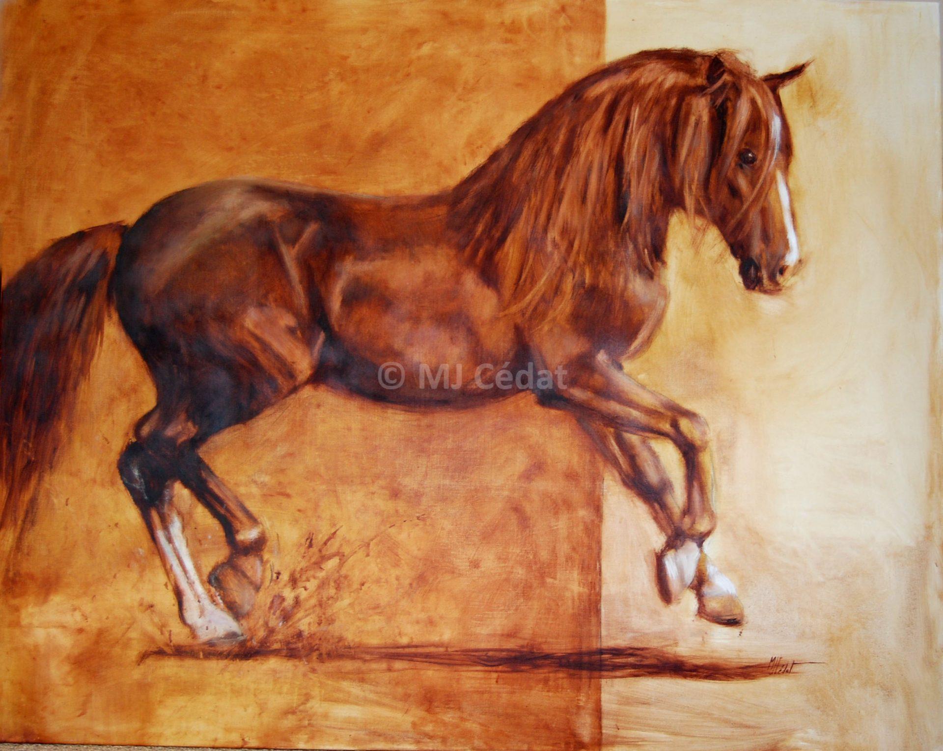 Cheval en liberté – Huile sur toile de lin-Marie-Joëlle Cédat-artiste animalier peinture animaliere-art-animalier- peintre-animalier