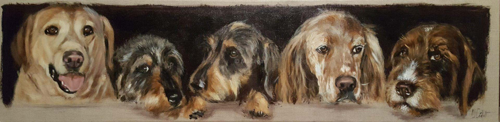 Meute Chiens – chiens Acrylique sur lin brut 120 x 30 cm