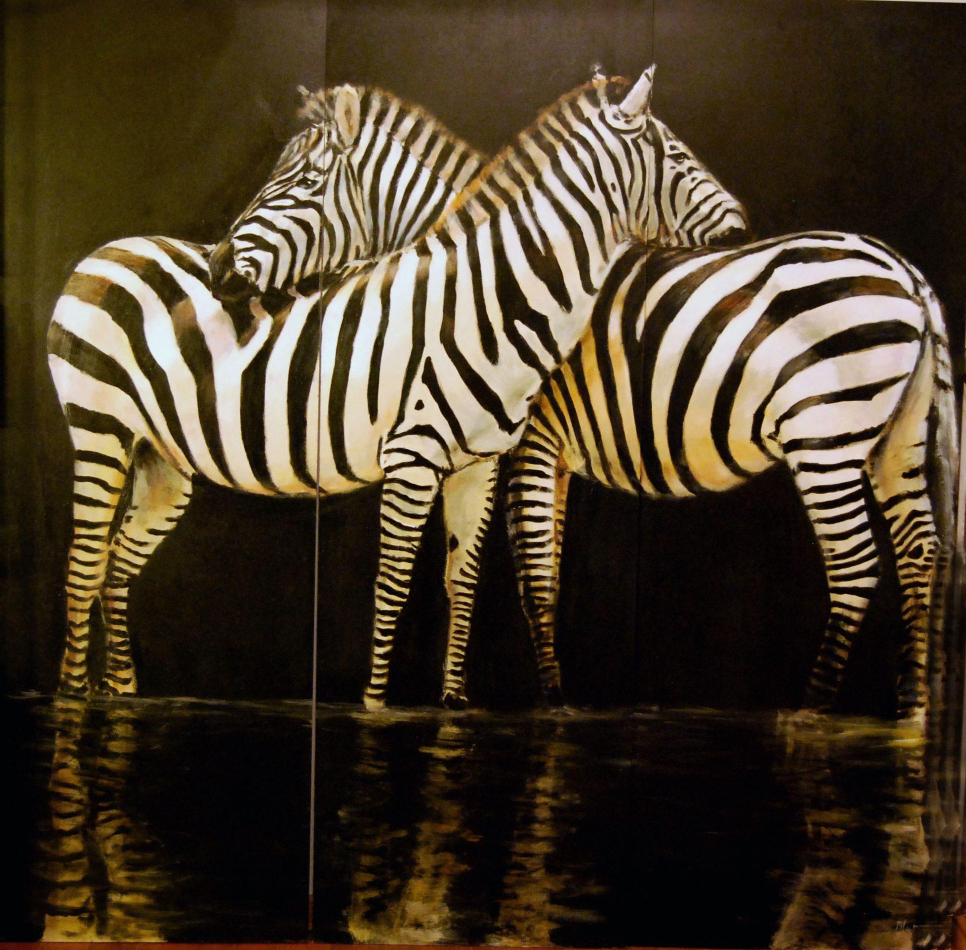 paravent 1 recto – Acrylique sur toile de lin brut-Marie-Joëlle Cédat-artiste animalier peinture animaliere-art-animalier- peintre-animalier