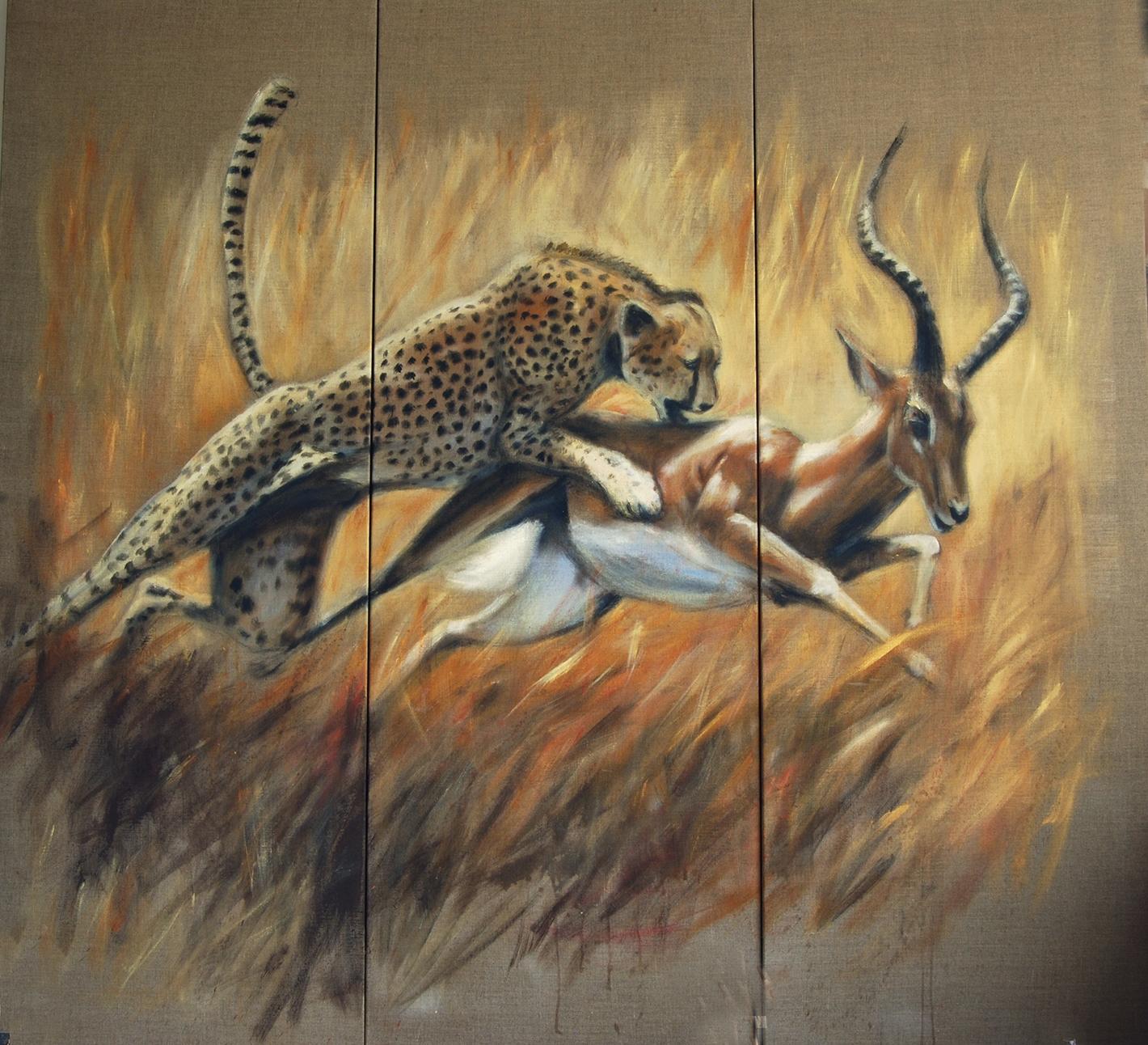 paravent 2 recto gazelle lion-Marie-Joëlle Cédat-artiste animalier peinture animaliere-art-animalier- peintre-animalier