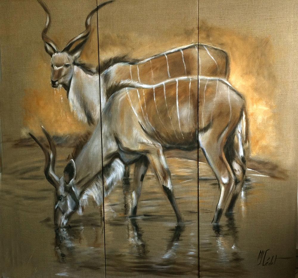 paravent 2 verso gazelles-Marie-Joëlle Cédat-artiste animalier peinture animaliere-art-animalier- peintre-animalier