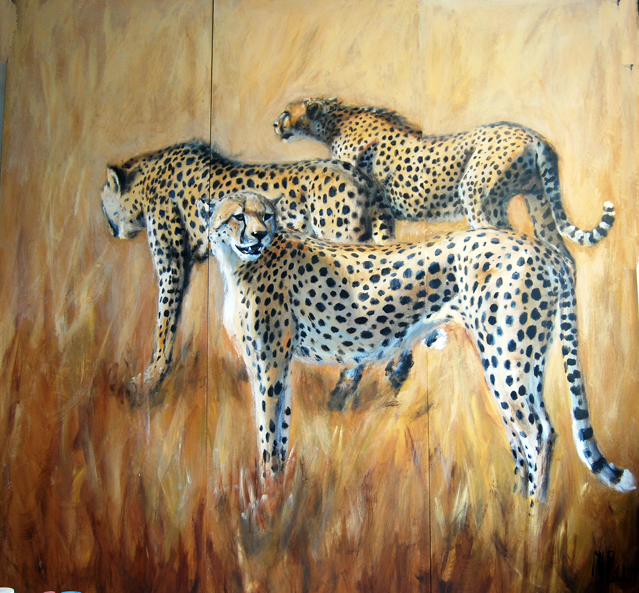 paravent 3 recto – -Marie-Joëlle Cédat-artiste animalier peinture animaliere-art-animalier- peintre-animalier