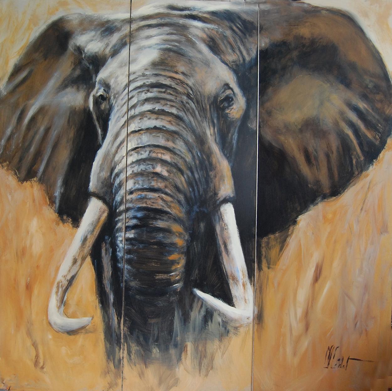 paravent 4 recto éléphant-Marie-Joëlle Cédat-artiste animalier peinture animaliere-art-animalier- peintre-animalier