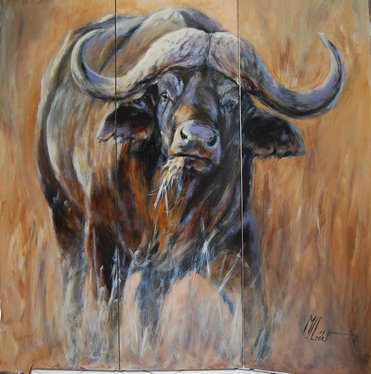 paravent 4 verso buffle -Marie-Joëlle Cédat-artiste animalier peinture animaliere-art-animalier- peintre-animalier