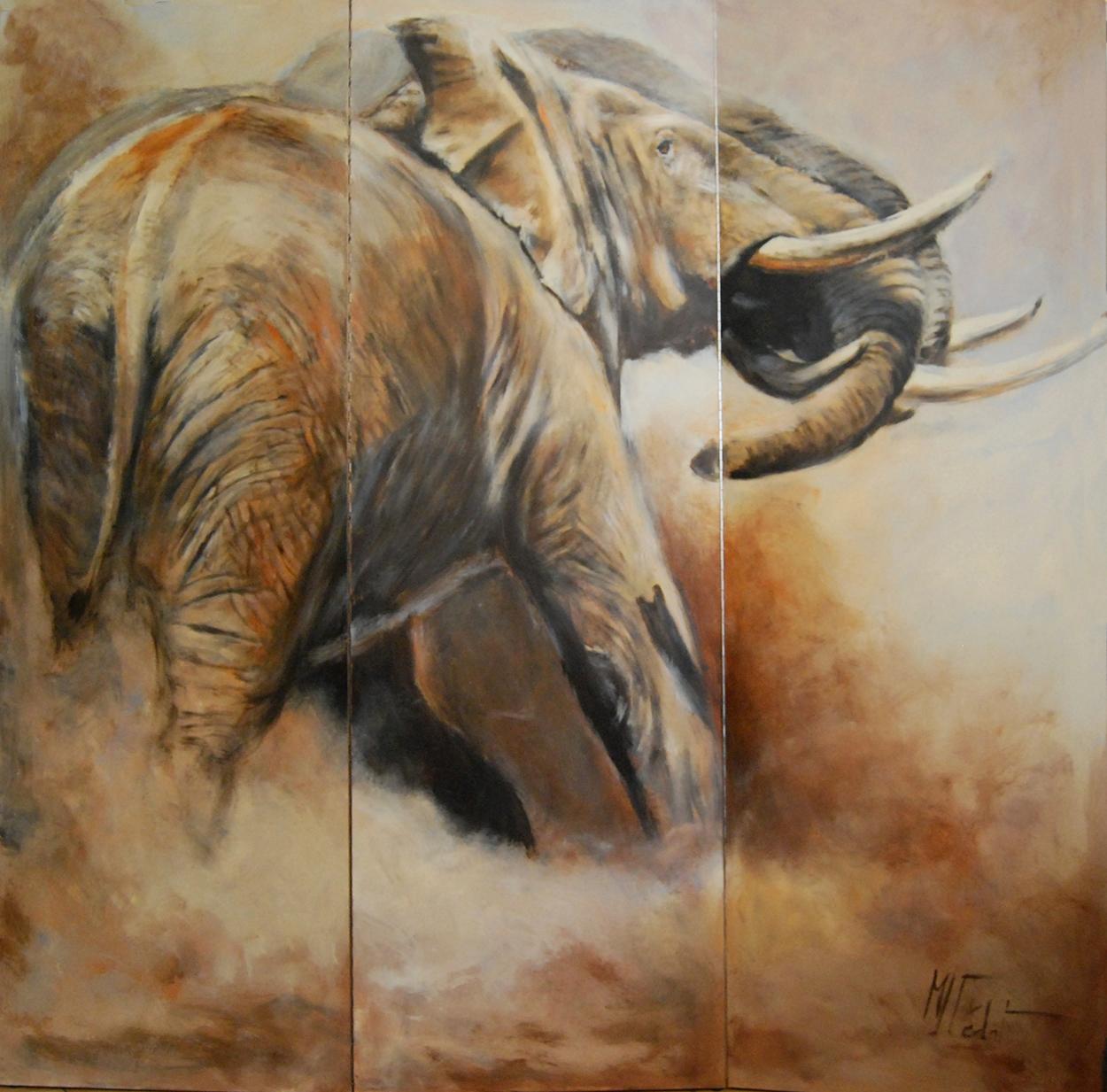 paravent 5 verso éléphant -Marie-Joëlle Cédat-artiste animalier peinture animaliere-art-animalier- peintre-animalier