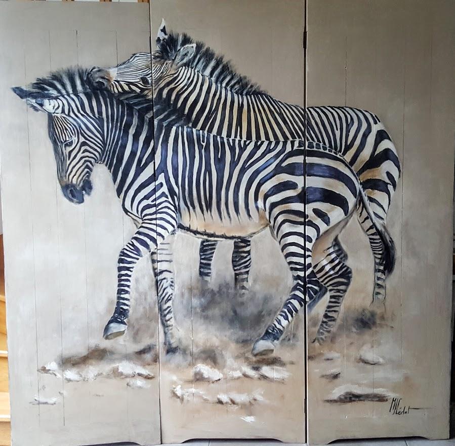 paravent 6 recto zèbres-Marie-Joëlle Cédat-artiste animalier peinture animaliere-art-animalier- peintre-animalier