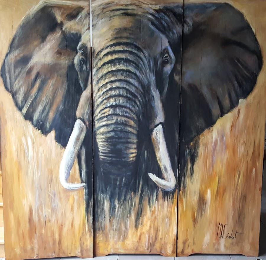 paravent 6 recto éléphant-Marie-Joëlle Cédat-artiste animalier peinture animaliere-art-animalier- peintre-animalier