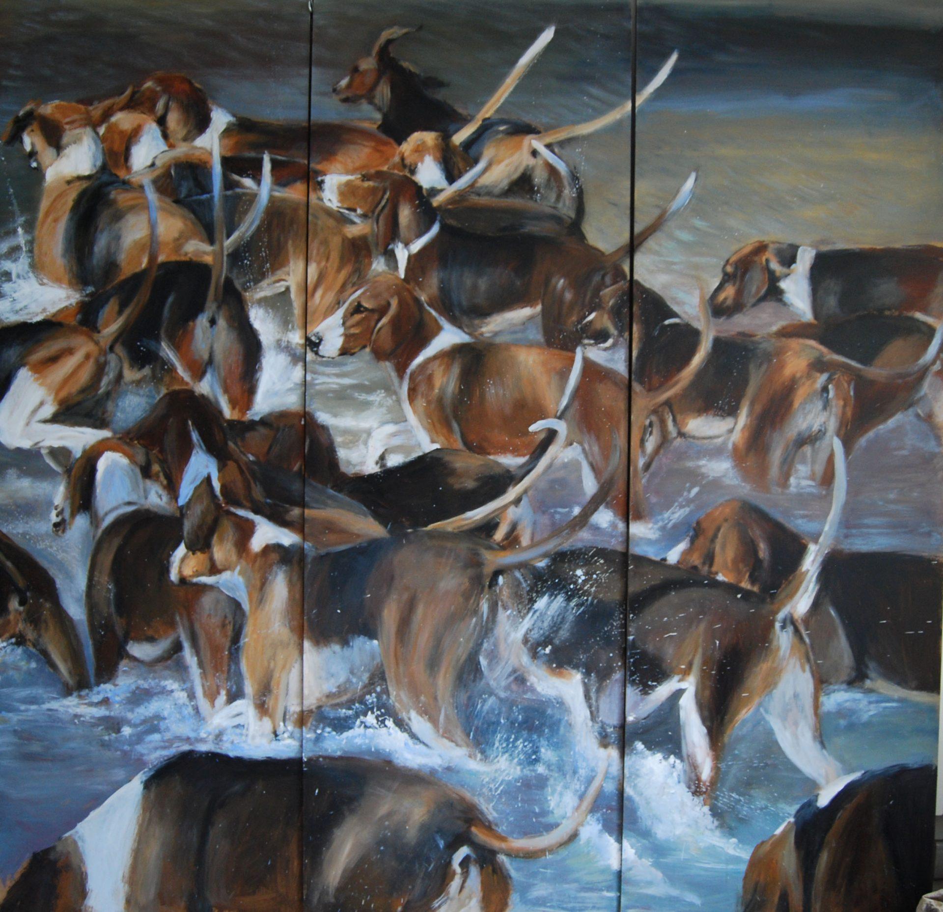 paravent bat l'eau meute chiens face 2 -Marie-Joëlle Cédat-artiste animalier peinture animaliere-art-animalier- peintre-animalier