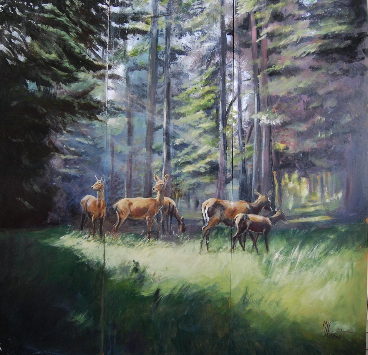Paravent sologne face recto-Marie-Joëlle Cédat-artiste animalier peinture animaliere-art-animalier- peintre-animalier