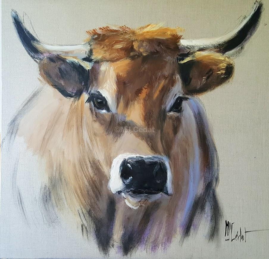 vache d'Aubrac-Marie-Joëlle Cédat-artiste animalier peinture animaliere-art-animalier- peintre-animalier