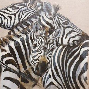 Dans le troupeau de zèbres – Acrylique sur lin brut – 90 x 90 cm