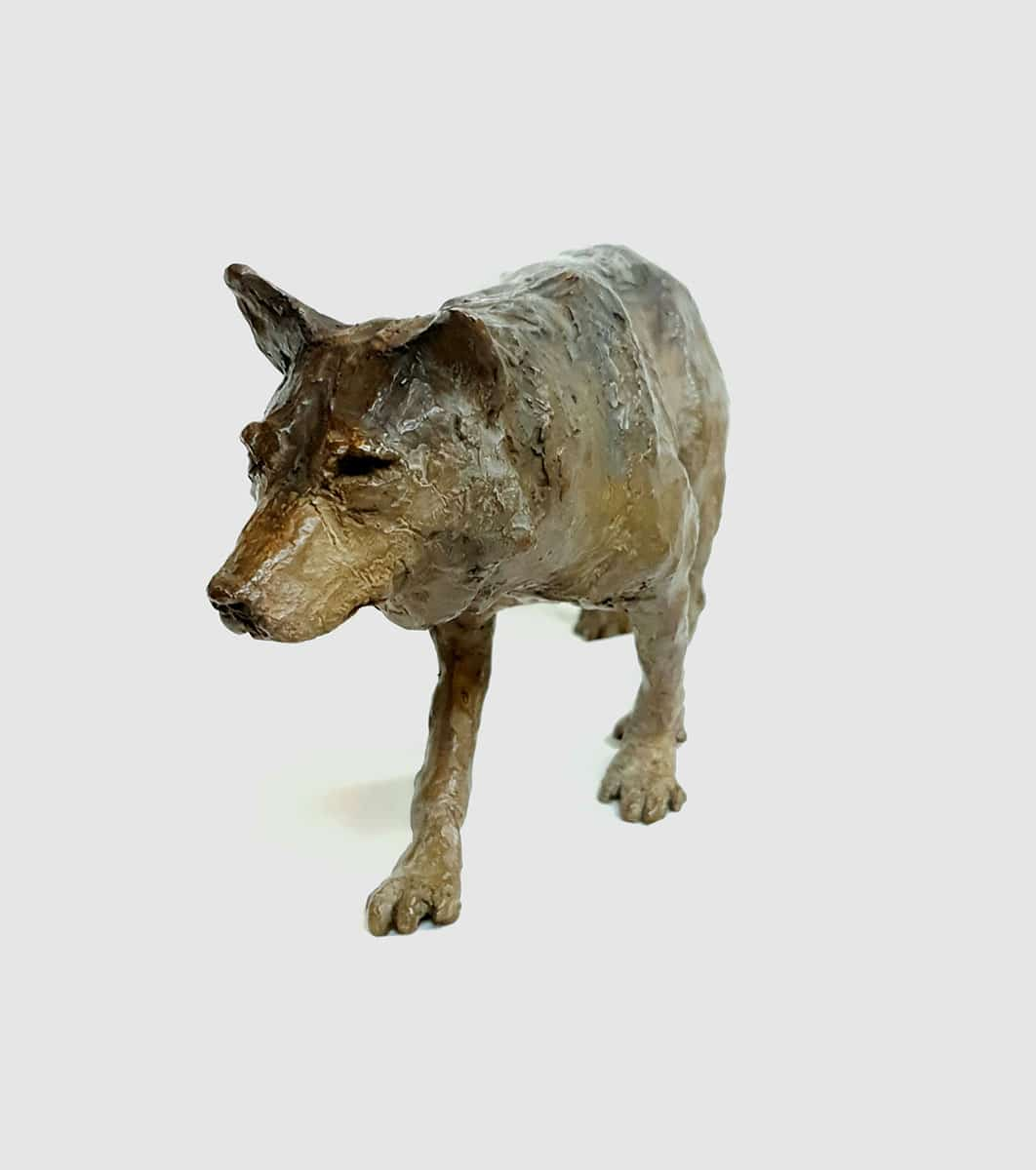 Loup – Sculpture bronze-Marie-Joëlle Cédat-artiste animalier peinture animaliere-art-animalier- peintre-animalier 5 x 7x 9 cm – marie-Joëlle Cédat artiste animalier
