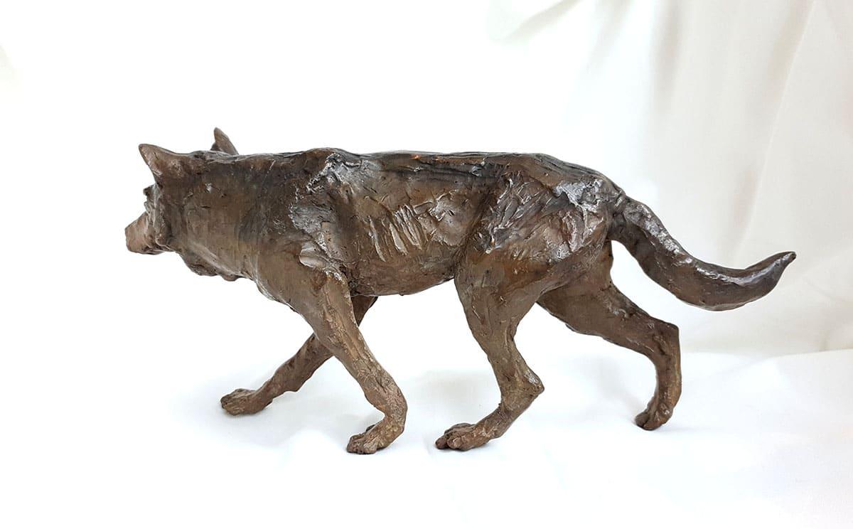 Loup – Sculpture bronze -Marie-Joëlle Cédat-artiste animalier peinture animaliere-art-animalier- peintre-animalier x 9 cm – marie-Joëlle Cédat artiste animalier