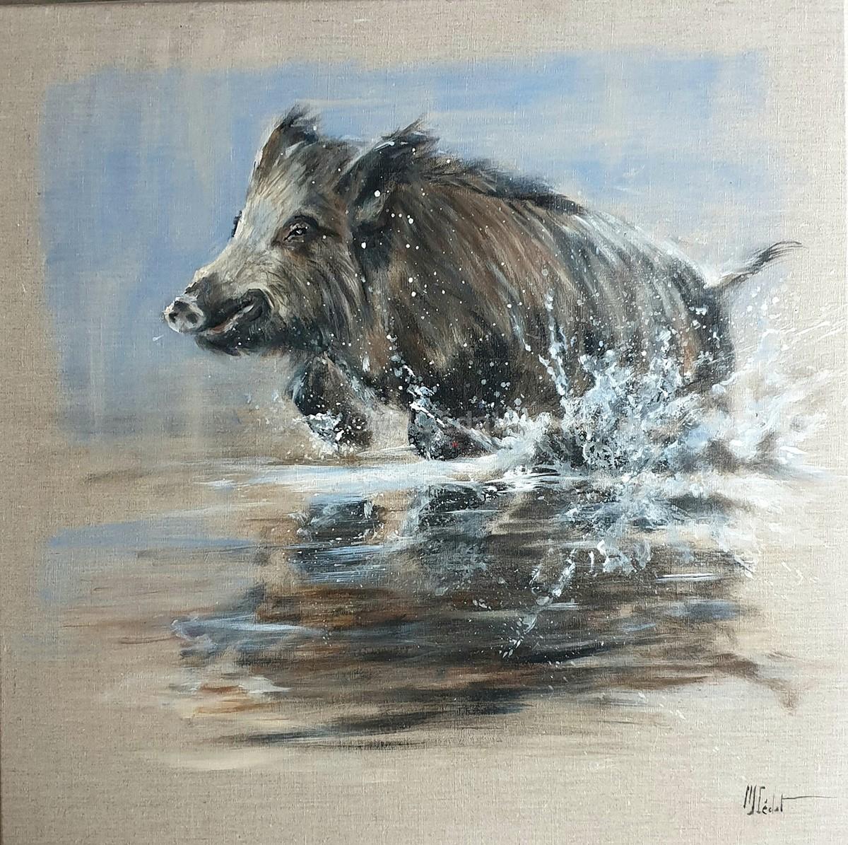 Sanglier dans le marais – Acrylique sur lin brut - Marie-Joëlle Cédat artiste animalier peinture animaliere