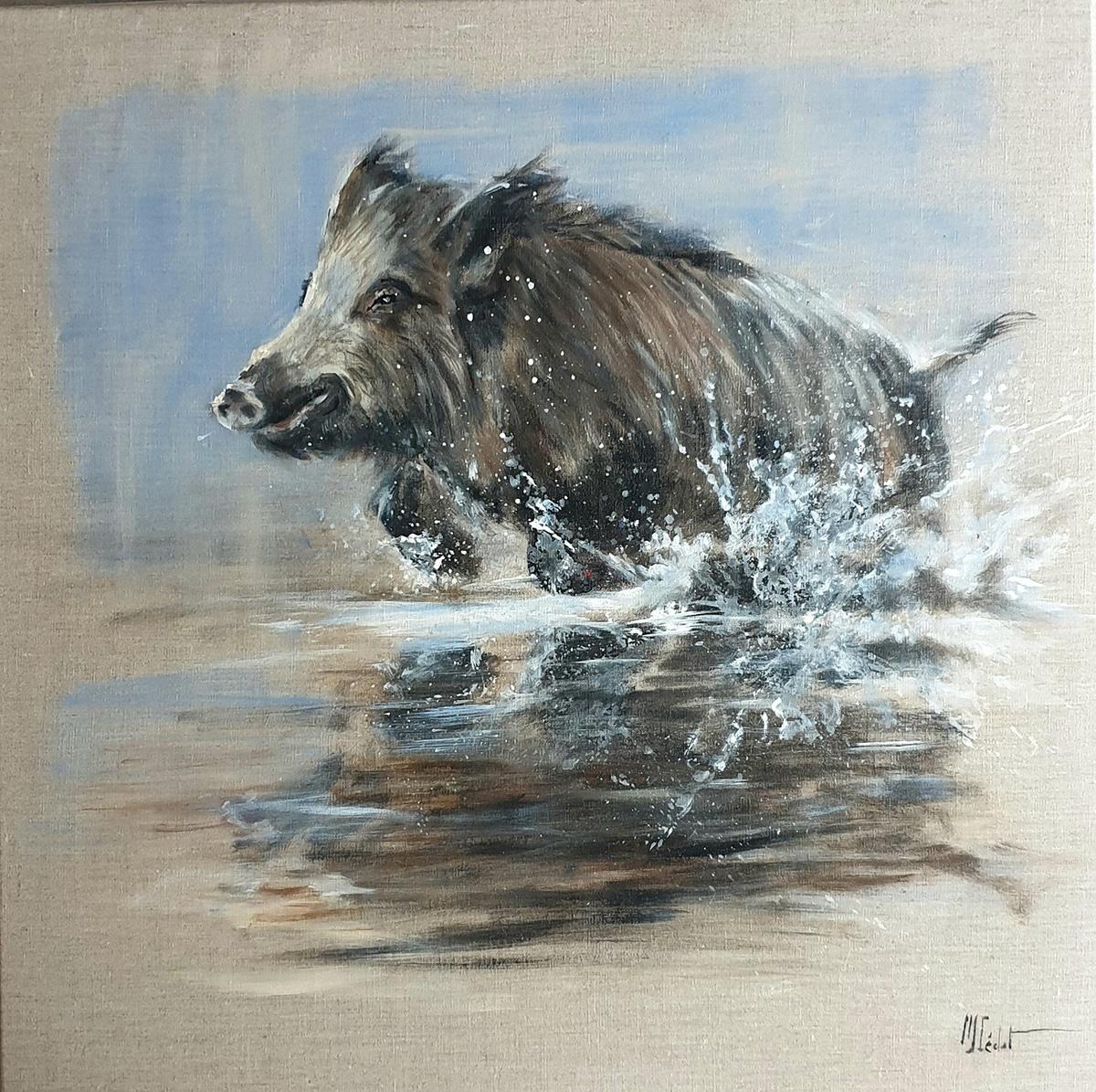 Sanglier dans le marais – Acrylique sur lin brut – 80 x 80 cm