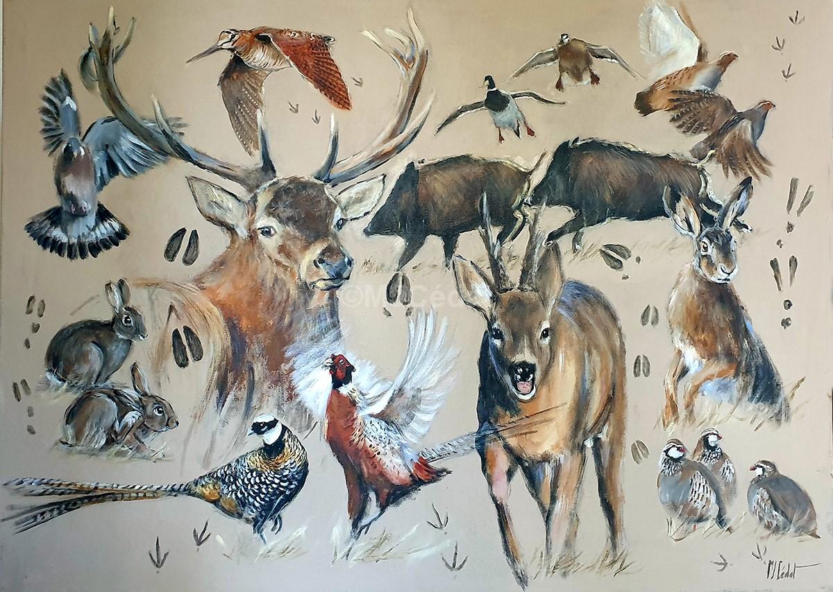 Gibiers d'Europe sanglier chevreuils faisans perdrix - Acrylique sur lin brut - 160 x 100 cm - peinture animalière Marie-Joëlle Cédat artiste animalier