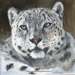 Panthère des neiges – Acrylique sur lin brut – 40 x 40 cm