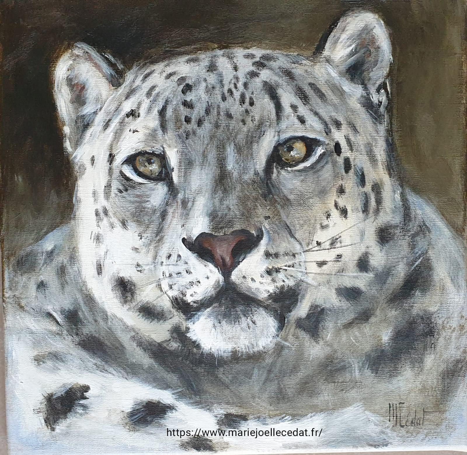 Panthère des neiges - Acrylique sur lin brut - 40 x 40 cm - Marie-Joëlle Cédat artiste animalier peinture animaliere