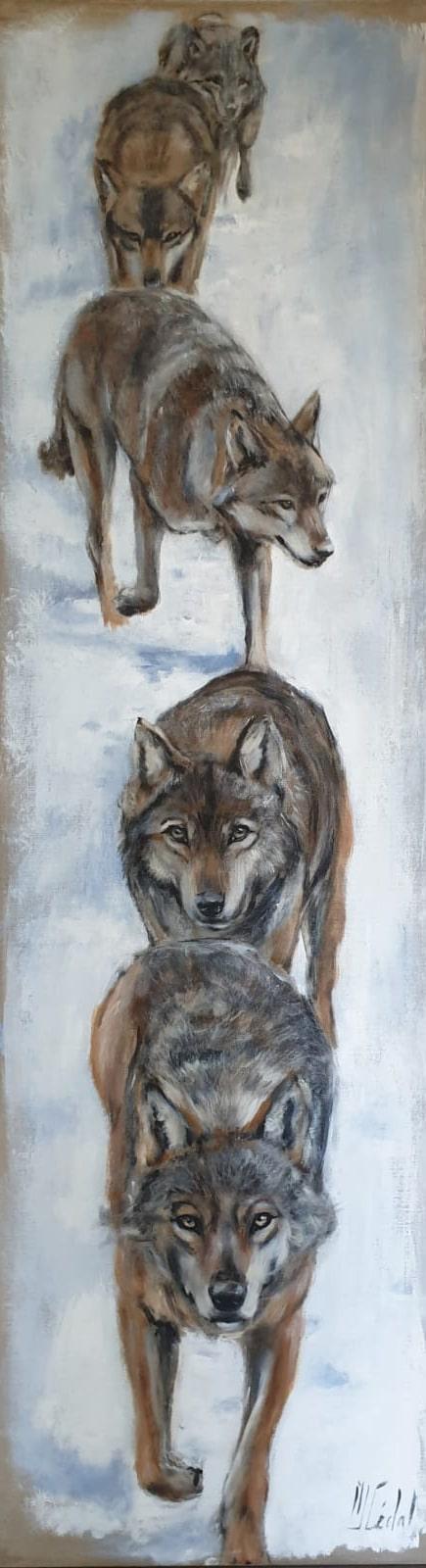 meute de loup - Acrylique sur lin brut - 40 x 40 cm - Marie-Joëlle Cédat artiste animalier peinture animaliere