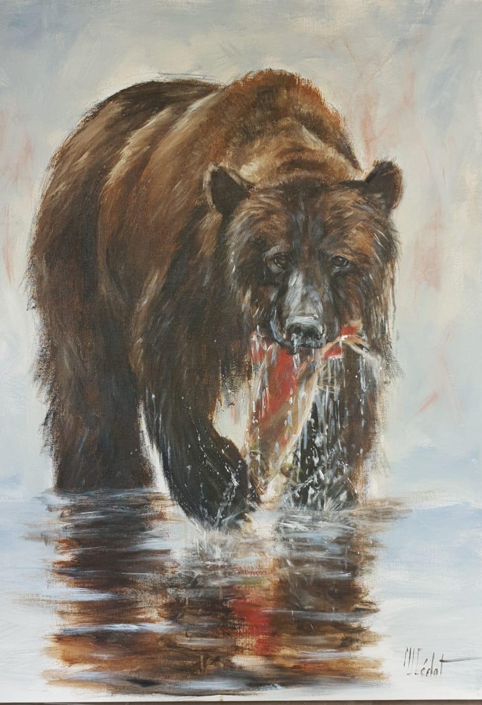 Ours à la pêche - Acrylique sur lin brut - 40 x 40 cm - Marie-Joëlle Cédat artiste animalier peinture animaliere