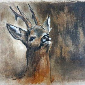 Brocard tête levée – Acrylique sur lin brut – 50 x 60 cm – encadré