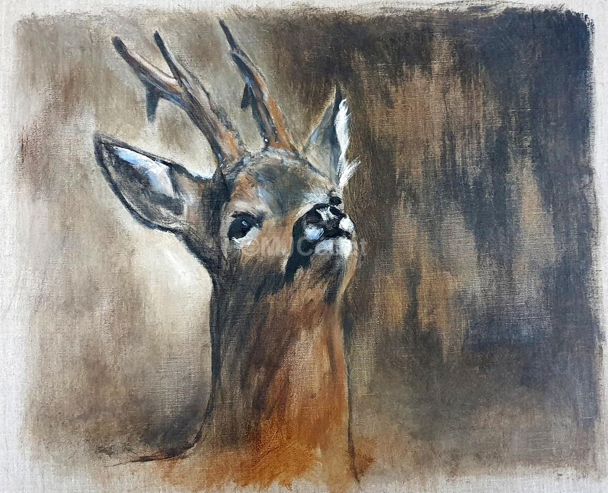 Brocard tête levée - Acrylique sur lin brut - 50 x 60 cm - Marie-Joëlle Cédat artiste animalier peinture animaliere