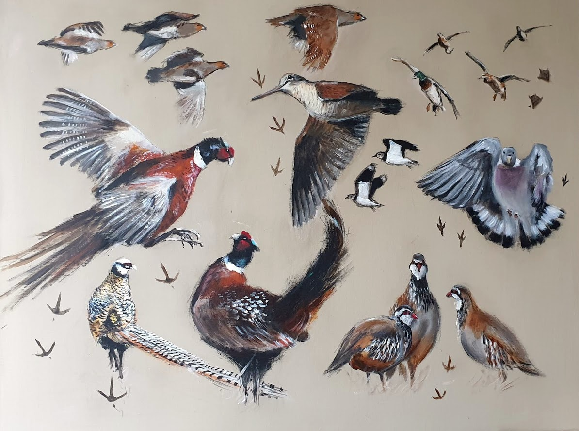 Gibiers à plumes- faisans- bécasse- perdrix - pigeons- canards - Acrylique sur toile de lin brut Acrylique sur toile de lin Marie-Joëlle Cédat-artiste animalier peinture animaliere-art-animalier- peintre-animalier