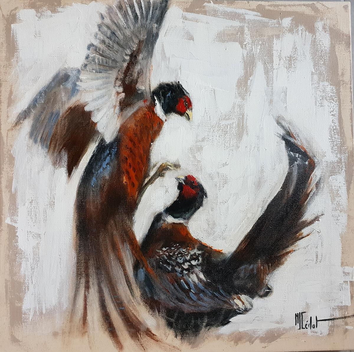 Combat de coqs faisans – Acrylique sur lin brut - Marie-Joëlle Cédat artiste animalier peinture animaliere