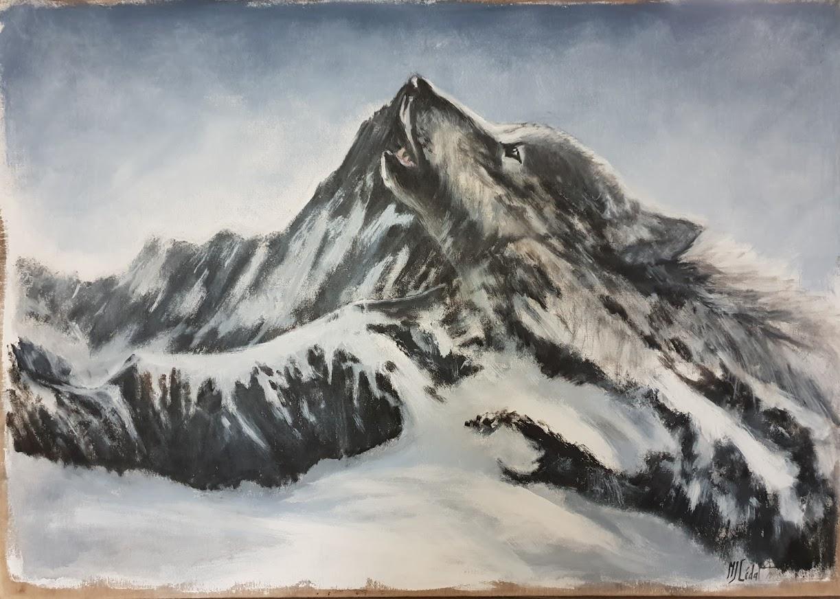 Loup dans la montagne- Acrylique sur lin brut -peinture animalière Marie-Joêlle Cédat