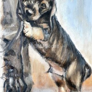 Teckel Joueur – Acrylique sur lin brut – 60 x 30 cm
