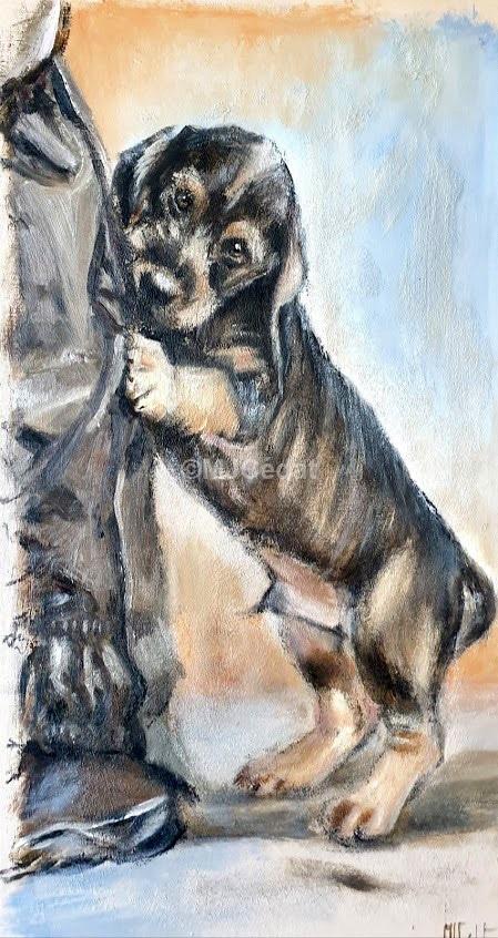 jeune teckel joueur – Acrylique sur toile de linMarie-Joëlle Cédat-artiste animalier peinture animaliere-art-animalier- peintre-animalier