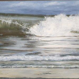 Vagues n°3- Acrylique sur toile de lin brut 100 x 50 cm