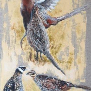 Faisans communs et faisans vénérés – Acrylique sur toile de lin brut 100 x 50 cm