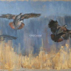 Vol de perdrix – Acrylique sur toile de lin brut 54 x 73 cm