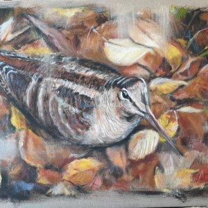 Bécasse tapie – Acrylique sur lin brut – 54 x 65 cm