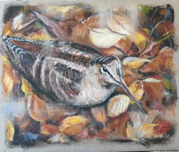 Bécasse tapie- Acrylique sur lin brut Marie-Joëlle Cédat artiste animalier peinture animaliere