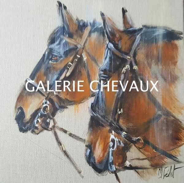 Chevaux- Acrylique sur lin brut Marie-Joëlle Cédat artiste animalier peinture animaliere