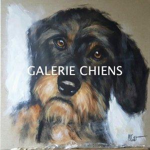 chien teckel dans les bras - -Marie-Joëlle Cédat-artiste animalier peinture animaliere-art-animalier- peintre-animalier