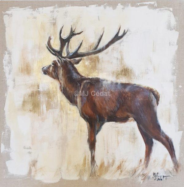 cerf faune europe Acrylique Marie-Joëlle Cédat-artiste animalier peinture animaliere-art-animalier- peintre-animalier