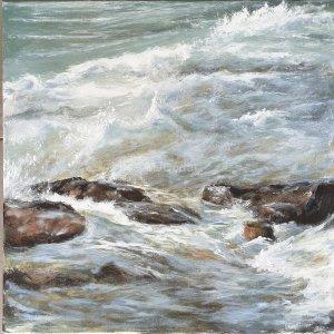 Vagues à Penvins – Acrylique sur lin – 70 x 70 cm