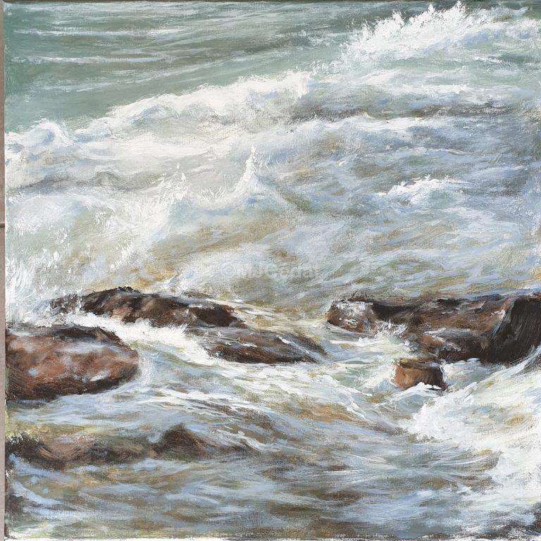Vagues- mer Acrylique sur toile de lin brut Marie-Joëlle Cédat-artiste animalier peinture animaliere-art-animalier- peintre-animalier