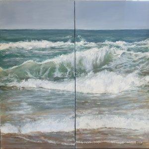 Diptyque de vagues – Acrylique sur lin brut – 100 (2×50)