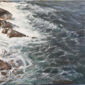 Remous à Dinard – Acrylique sur lin brut – 100 x 50 cm